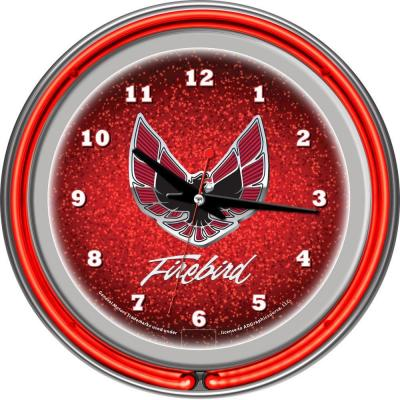 Trademark Global 14 in. Pontiac Firebird Red Chrome Double Ring Neon Wall Clock