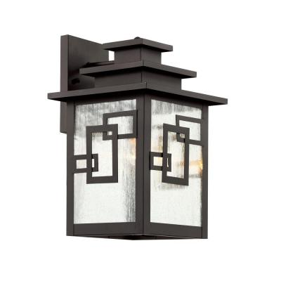 Bel Air Lighting Weathered Bronze Outdoor Wall Lantern with Seeded Window Frames