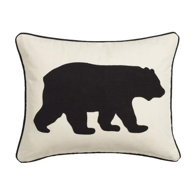 Bear Animal Print Cotton 16 in. x 20 in. Throw Pillow