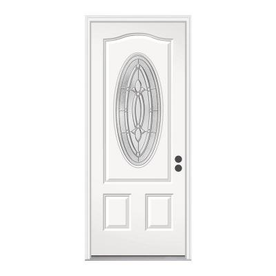 36 in. x 80 in. Blakely 3/4 Oval Lite Primed Premium Steel Prehung Front Door with Brickmould Product Photo