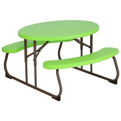 Children's 34 in. L Resin Oval Picnic Table in Lime Green Product Photo