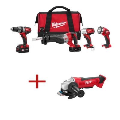 Milwaukee M18 18-Volt Lithium-Ion Hammer Drill/Impact/SAWZALL/Light Combo Kit (4-Tool) W/ Free 4-1/2 in. Cordless Cut-Off/Grinder