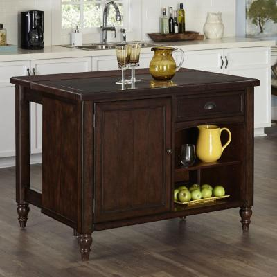 48 in. W Country Comfort Kitchen Island in Aged Bourbon with