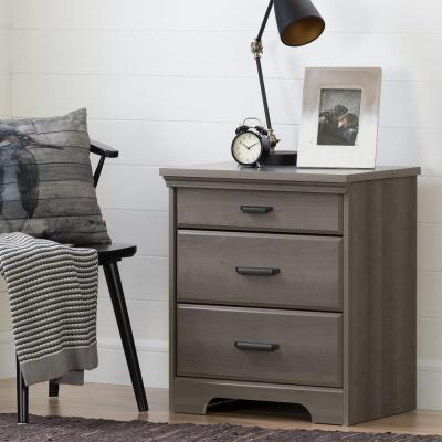 South Shore Versa 2-Drawer Nightstand in Gray Maple