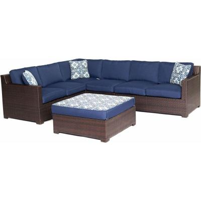 Metropolitan French Roast 5-Piece All-Weather Wicker Patio Deep Seating Set with