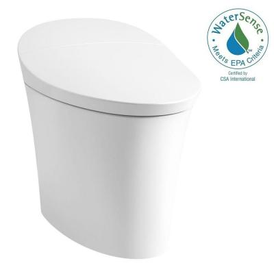 Veil Intelligent 1-piece 0.8/1.28 GPF Dual Flush Elongated Toilet in White