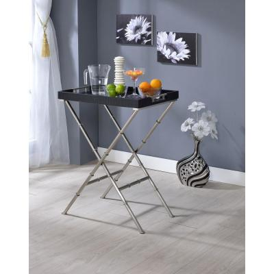 Acme Furniture Lajos Black Crocodile and Brushed Nickel Tray Side Table