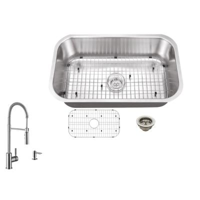 IPT Sink Company Undermount 30 in. 16-Gauge Stainless Steel Kitchen Sink in Brushed Stainless with Pull Out Kitchen Faucet