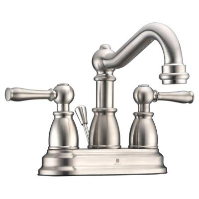 Edge Series 4 in. Centerset 2-Handle Mid-Arc Bathroom Faucet in Brushed