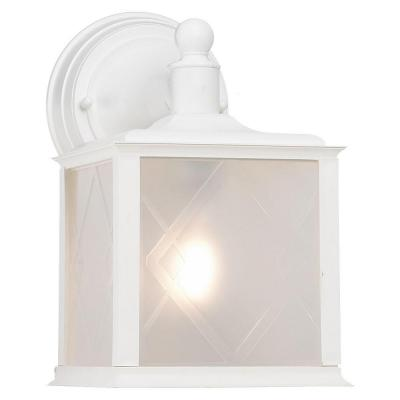 Sea Gull Lighting Harbor Point Wall-Mount 1-Light Outdoor White Fixture