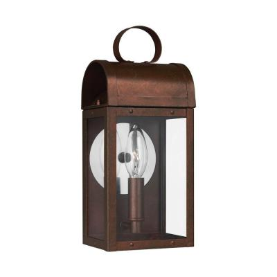 Conroe 1-Light Weathered Copper Wall Lantern