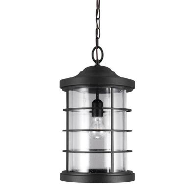 Sea Gull Lighting Sauganash 1-Light Outdoor Black Hanging Pendant with Clear Seeded Glass