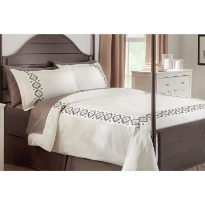 Reinhart 3-Piece Ivory Embroidered Duvet Cover Set