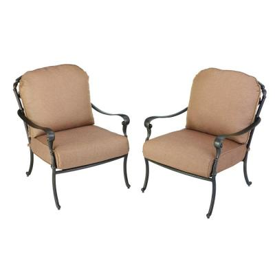 Hampton Bay Edington 2013 Patio Lounge Chairs with Textured Umber Cushions (2-Pack)-DISCONTINUED