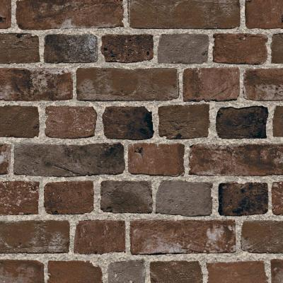 The Wallpaper Company 8 in. x 10 in. Brown Brick Wallpaper Sample