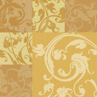 The Wallpaper Company 8 in. x 10 in. Yellow and Ochre Swirl Leaf Design in. Square Pattern Wallpaper Sample