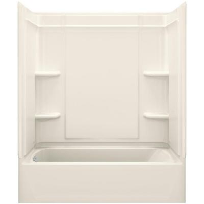 Ensemble Medley 60 in. x 30 in. x 72 in. 4-piece Tongue and Groove Tub Wall in Biscuit Product Photo