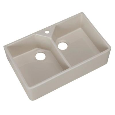 Pegasus Farmhouse Apron Front Fireclay 32 in. 1-Hole Double Basin Kitchen Sink in Bisque