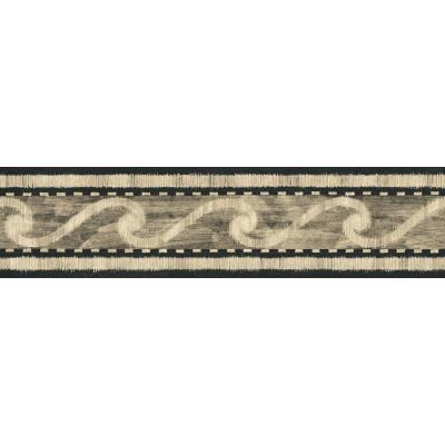 The Wallpaper Company 5.125 in. x 15 ft. Black and Beige Wave Scroll Border