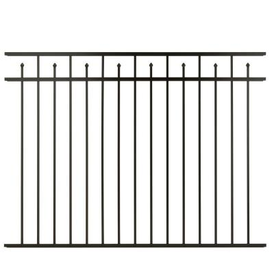 Cercadia 4.5 ft. H x 6 ft. W Black Aluminum Fence Panel Alternate Picket for 3-Rail - Unassembled-DISCONTINUED