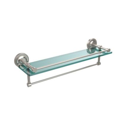 22 in. W Gallery Glass Shelf with Towel Bar in Satin