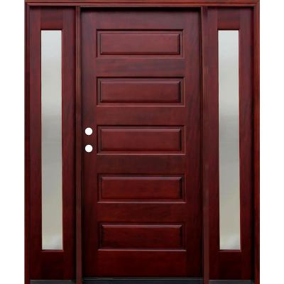 70 in. x 80 in. 5-Panel Stained Mahogany Wood Prehung Front Door w/ 6 in. Wall Series and 12 in. Mistlite Sidelites Product Photo