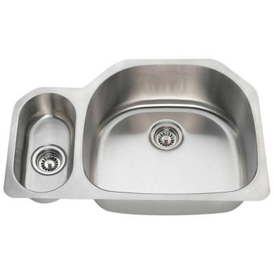 Undermount Stainless Steel 31-3/4 in. 0-Hole Double Bowl Kitchen Sink