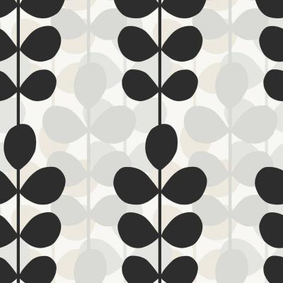 The Wallpaper Company 56 sq. ft. Black, White and Grey Modern Large Scale Leaf Stripe Wallpaper