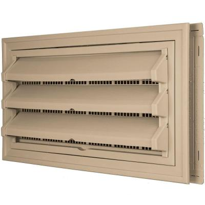 9-3/8 in. x 17-1/2 in. Foundation Vent Kit with Trim Ring and Optional Fixed Louvers (Molded Screen) in #069 Tan Product Photo