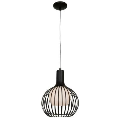 Chuki 1-Light Black Pendant with Opal Glass Shade