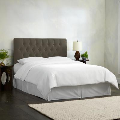 Skyline Furniture Full Diamond Tufted Headboard in Linen Charcoal