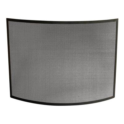 UniFlame Curved Black Wrought Iron Single-Panel Fireplace Screen