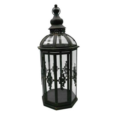 null 10.5 in. x 27.5 in. Octagonal Glass Battery-Powered Candle Lantern with Classic Iron Frame