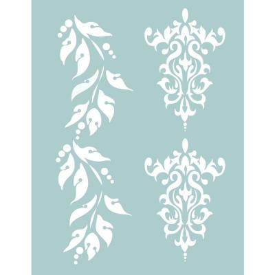 8.5 x 11 in. Brocade and Berry Borders-Stencil