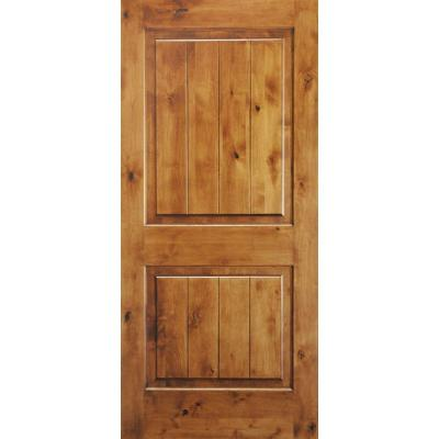 Krosswood Doors 36 In X 80 In Knotty Alder 2 Panel Square Top V Groove Solid Wood Right Hand