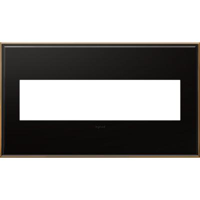 4-Gang 4 Module Wall Plate - Oil Rubbed Bronze with Beaded