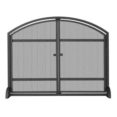 Uniflame 1 Panel Arch Top Black Wrought Iron Fireplace Screen With Doors S 1066 The Home Depot