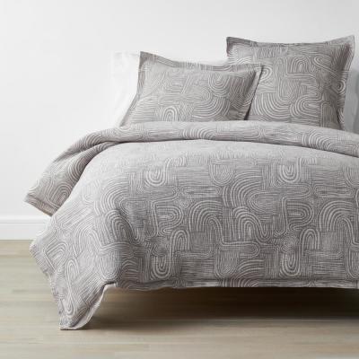 Thatcher Gray Geometric Organic Cotton Duvet Cover