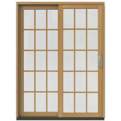 59-1/4 in. x 79-1/2 in. W-2500 Desert Sand Prehung Left-Hand Clad-Wood Sliding Patio Door with 15-Lite Grids Product Photo