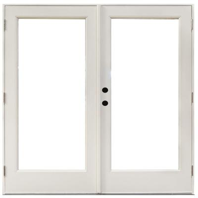 71-1/4 in. x 79-1/2 in. Fiberglass White Right-Hand Outswing Hinged Patio Door Product Photo