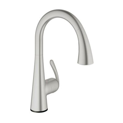 GROHE LadyLux Cafe Touch Single-Handle Pull-Down Sprayer Kitchen Faucet in SuperSteel InfinityFinish