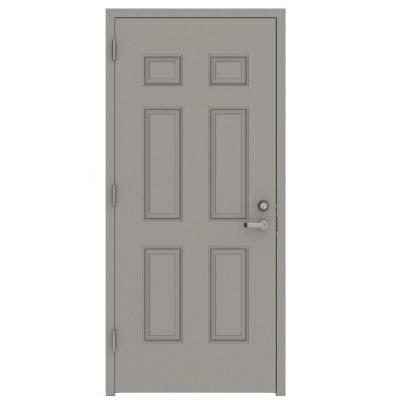 30 in. x 80 in. Gray Right-Hand 6-Panel Security Steel Prehung