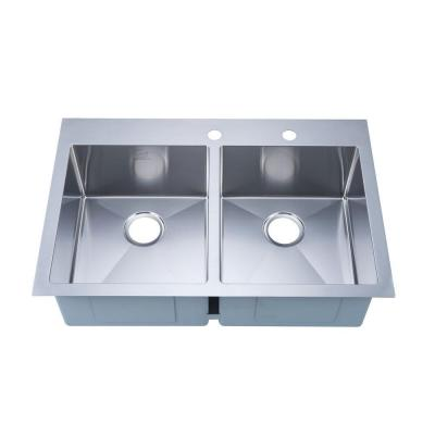 stufurhome NationalWare Overmount Stainless Steel 33 in. 2-Hole Double Basin Kitchen Sink in Stainless Steel
