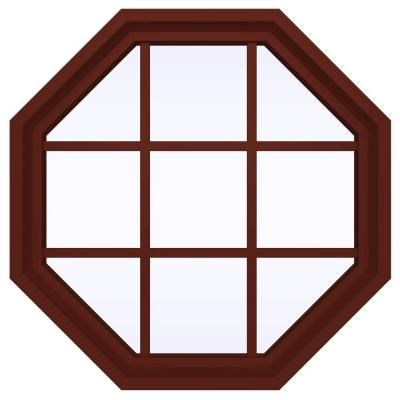 35.5 in. x 35.5 in. V-4500 Series Fixed Octagon Vinyl Window with Grids - Red Product Photo
