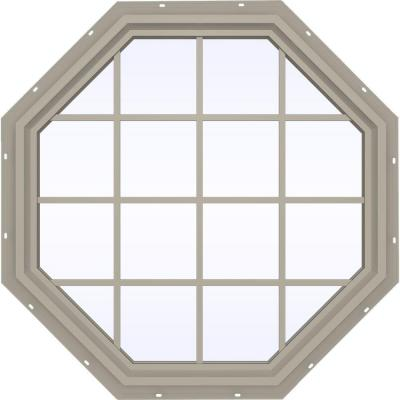 47.5 in. x 47.5 in. V-4500 Series Fixed Octagon Vinyl Window with Grids - Tan Product Photo