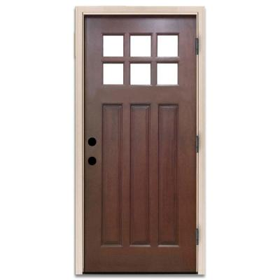 36 in. x 80 in. Craftsman 6 Lite Stained Mahogany Wood Prehung Front Door Product Photo