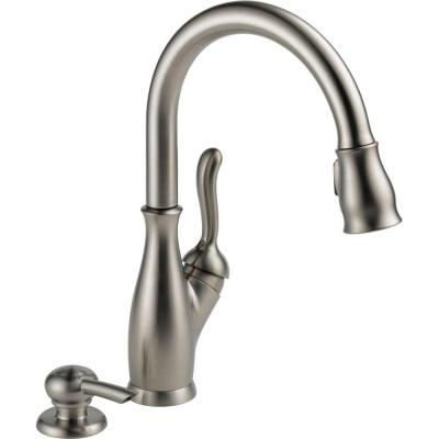Delta Leland Single Handle Pull Down Sprayer Kitchen Faucet With Soap Dispenser In Stainless
