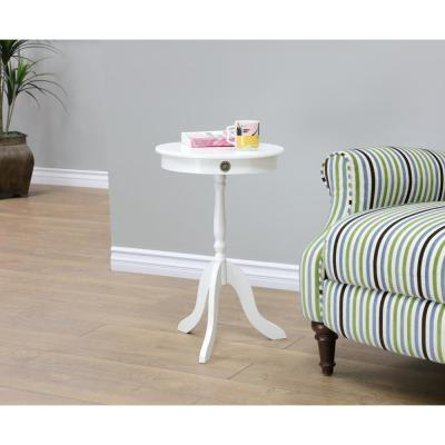 MegaHome White Storage Side Table