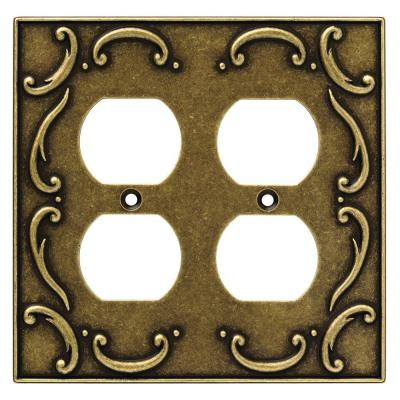 French Lace 2 Gang Duplex Wall Plate - Burnished Antique Brass