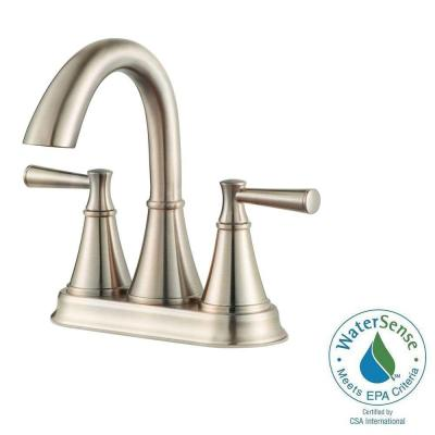 Pfister Cantara 4 in. Centerset 2-Handle High-Arc Bathroom Faucet in Brushed Nickel